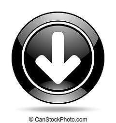 download arrow black glossy icon