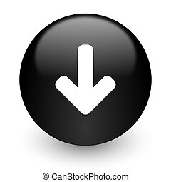 download arrow black glossy internet icon