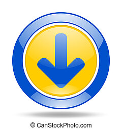 download arrow blue and yellow web glossy round icon