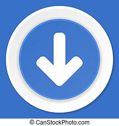 download arrow blue flat design modern web icon