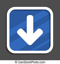Download arrow blue flat design square web icon