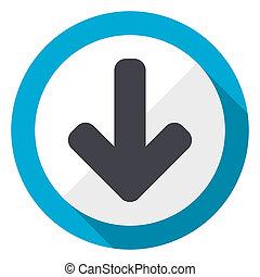 Download arrow blue flat design web icon