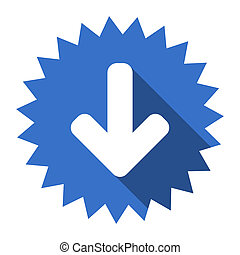 download arrow blue flat icon