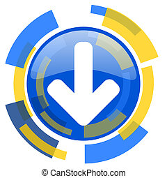 download arrow blue yellow glossy web icon
