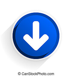 download arrow flat icon with shadow on white background, blue modern design web element