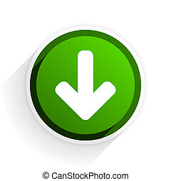 download arrow flat icon with shadow on white background, green modern design web element