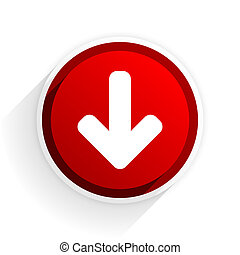 download arrow flat icon with shadow on white background, red modern design web element