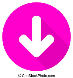 download arrow flat pink icon