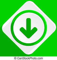 download arrow green flat icon