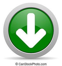 download arrow green glossy web icon