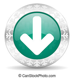 download arrow green icon, christmas button, arrow sign
