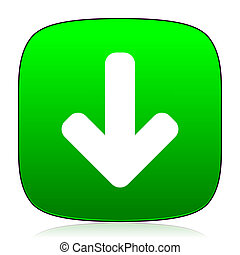 download arrow green icon for web and mobile app