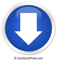 Download arrow icon blue glossy round button