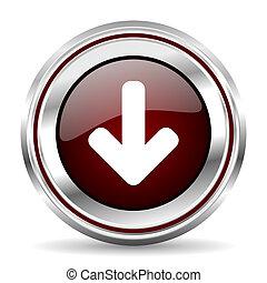 download arrow icon chrome border round web button silver metallic pushbutton