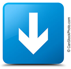Download arrow icon cyan blue square button