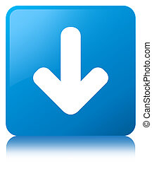 Download arrow icon cyan blue square button
