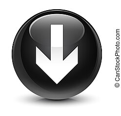 Download arrow icon glassy black round button