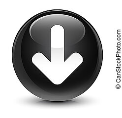 Download arrow icon glassy black round button