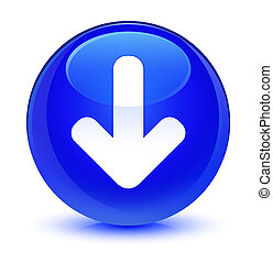 Download arrow icon glassy blue round button