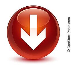 Download arrow icon glassy brown round button