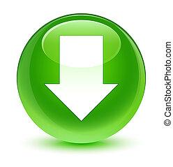 Download arrow icon glassy green round button