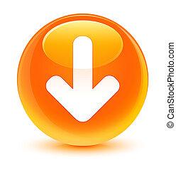 Download arrow icon glassy orange round button