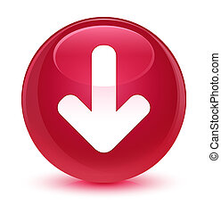 Download arrow icon glassy pink round button