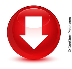 Download arrow icon glassy red round button