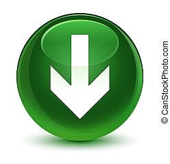 Download arrow icon glassy soft green round button