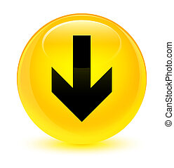 Download arrow icon glassy yellow round button
