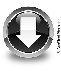 Download arrow icon glossy black round button