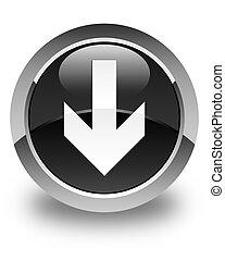 Download arrow icon glossy black round button