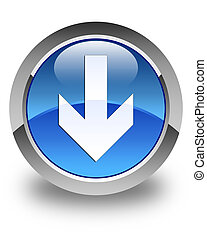 Download arrow icon glossy blue round button 3