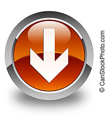 Download arrow icon glossy brown round button