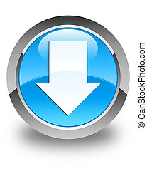 Download arrow icon glossy cyan blue round button