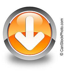 Download arrow icon glossy orange round button 2