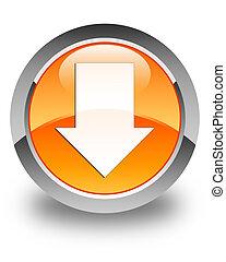 Download arrow icon glossy orange round button