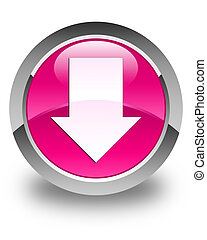 Download arrow icon glossy pink round button