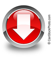 Download arrow icon glossy red round button