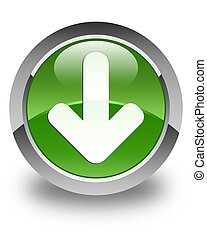 Download arrow icon glossy soft green round button