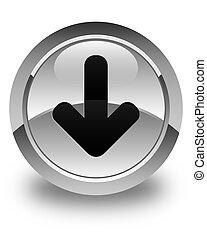 Download arrow icon glossy white round button