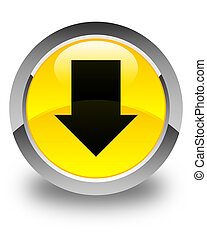 Download arrow icon glossy yellow round button