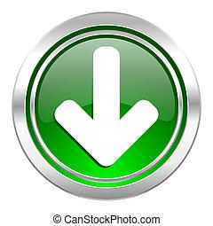 download arrow icon, green button, arrow sign