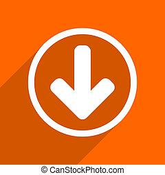 download arrow icon. Orange flat button. Web and mobile app design illustration