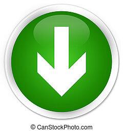 Download arrow icon premium green round button