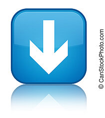 Download arrow icon special cyan blue square button