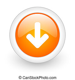 download arrow orange glossy web icon on white background
