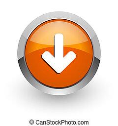download arrow orange glossy web icon