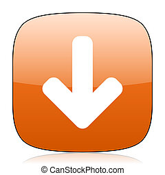 download arrow orange square web design glossy icon