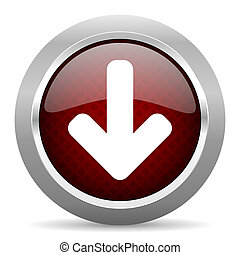 download arrow red glossy web icon